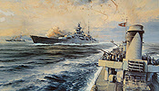 Offshore Bombardment - German Heavy Cruiser Prinz Eugen - Naval Art by Robert Taylor