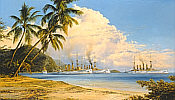 Peaceful Anchorage, german Navy Battleships maritime art print by Robert Taylor