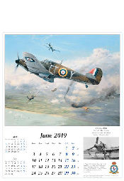 Luftfahrtkunst Kalender 2019 Royal Air Force Hawker Hurricane Juni