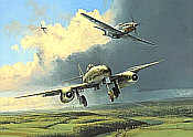 Running the Gauntlet, Me-262 JV 44 and P51D Mustang aviation art print by Robert Taylor