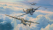 Savage Skies, Focke-Wulf Fw 190D-9 and B-24 Liberator aviation art print by Robert Taylor
