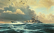 Sighting the Bismarck, Battleship Bismarck naval aviation art print by Robert Taylor
