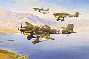 Stuka, Junkers Ju-87 over the Mediterranean aviation art print by Robert Taylor