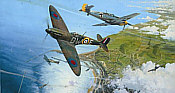 The Battle for Britain, Spitfire and Me-109 aviation art print by Robert Taylor