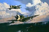 The Wolfpack, P-47 Thunderbolt and B-24 bomber aviation art print by Robert Taylor