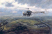 Memories of Leavesden, Bell 47 Helicopter aviation art print by Ronald Wong