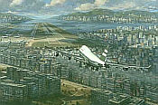 Return to Kai Tak, Cathay Pacific Boeing 747-400 aviation art print by Ronald Wong