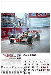 Juni McLaren-Mercedes F1 Art Calendar 2015 by Tony Smith
