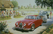 Pride of Lions, Jaguar Mark 5 and three more Jaguars automobile art print by Tony Smith