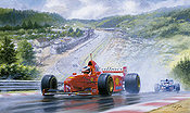 The Rain Master, Schumacher Belgian GP Spa 1997 F1 motorsport art print by Tony Smith